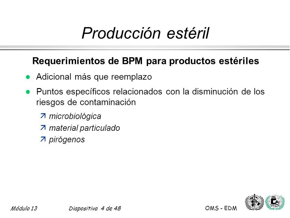 Módulo 13Diapositiva 25 de 48 OMS - EDM Parte Tres 17.44-47; 17.50-17.51 Producción estéril Procesamiento l Determinación de la carga biológica ämaterias primas ämateriales en proceso –PAV : filtrados inmediatamente antes de la esterilización –envases cerrados: salidas de liberación de presión l Componentes, materiales y recipientes ägeneración de fibras äno re-contaminación después de la limpieza äetapa identificada äesterilizado cuando se usan en áreas asépticas l Gas a través de un filtro esterilizante