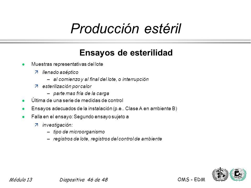 Módulo 13Diapositiva 46 de 48 OMS - EDM Producción estéril Ensayos de esterilidad l Muestras representativas del lote ällenado aséptico –al comienzo y