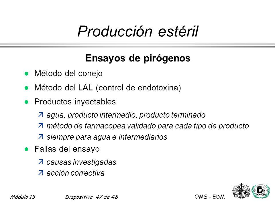 Módulo 13Diapositiva 47 de 48 OMS - EDM Producción estéril Ensayos de pirógenos l Método del conejo l Método del LAL (control de endotoxina) l Product