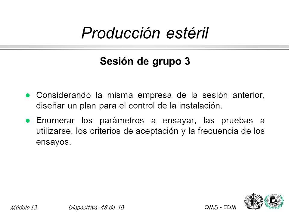Módulo 13Diapositiva 48 de 48 OMS - EDM Producción estéril Sesión de grupo 3 l Considerando la misma empresa de la sesión anterior, diseñar un plan pa