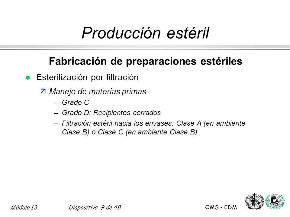Módulo 13Diapositiva 40 de 48 OMS - EDM Parte Tres 17.77 Producción estéril Esterilización por gas de óxido de etileno l Almacenamiento post-esterilización äventilación älímites definidos de gas residual äproceso validado l Aspectos de seguridad y toxicidad