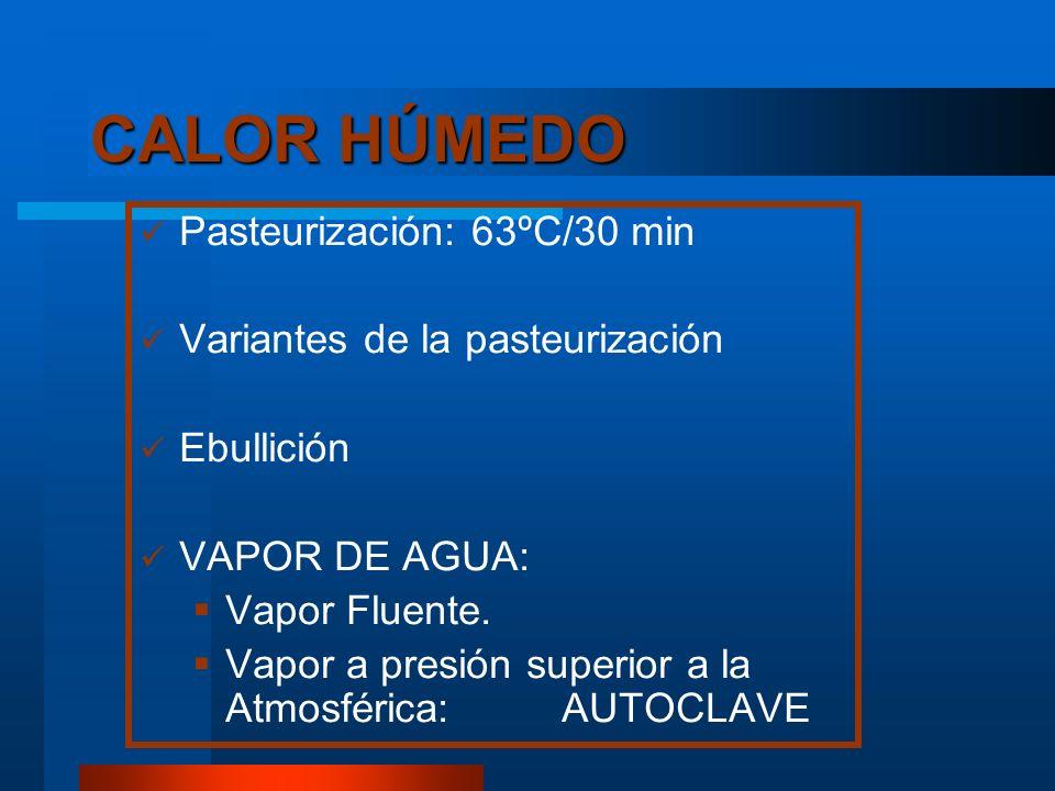 CALOR HÚMEDO Pasteurización: 63ºC/30 min Variantes de la pasteurización Ebullición VAPOR DE AGUA: Vapor Fluente. Vapor a presión superior a la Atmosfé