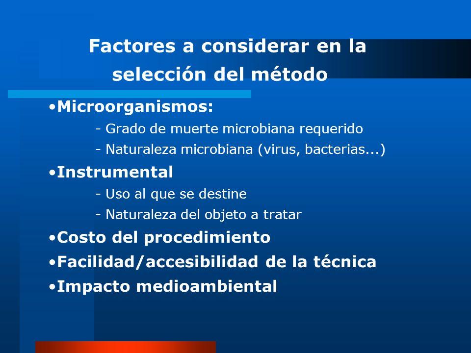 Factores a considerar en la selección del método Microorganismos: - Grado de muerte microbiana requerido - Naturaleza microbiana (virus, bacterias...)