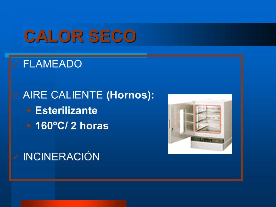 CALOR SECO FLAMEADO AIRE CALIENTE (Hornos): Esterilizante 160ºC/ 2 horas INCINERACIÓN