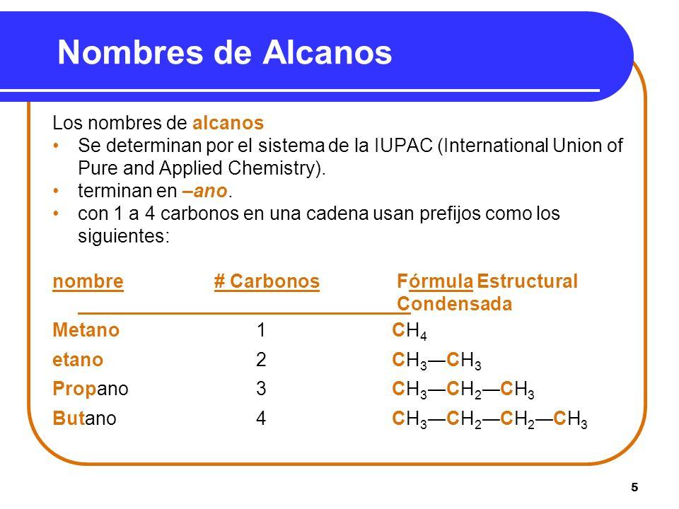 5 Nombres de Alcanos Los nombres de alcanos Se determinan por el sistema de la IUPAC (International Union of Pure and Applied Chemistry). terminan en