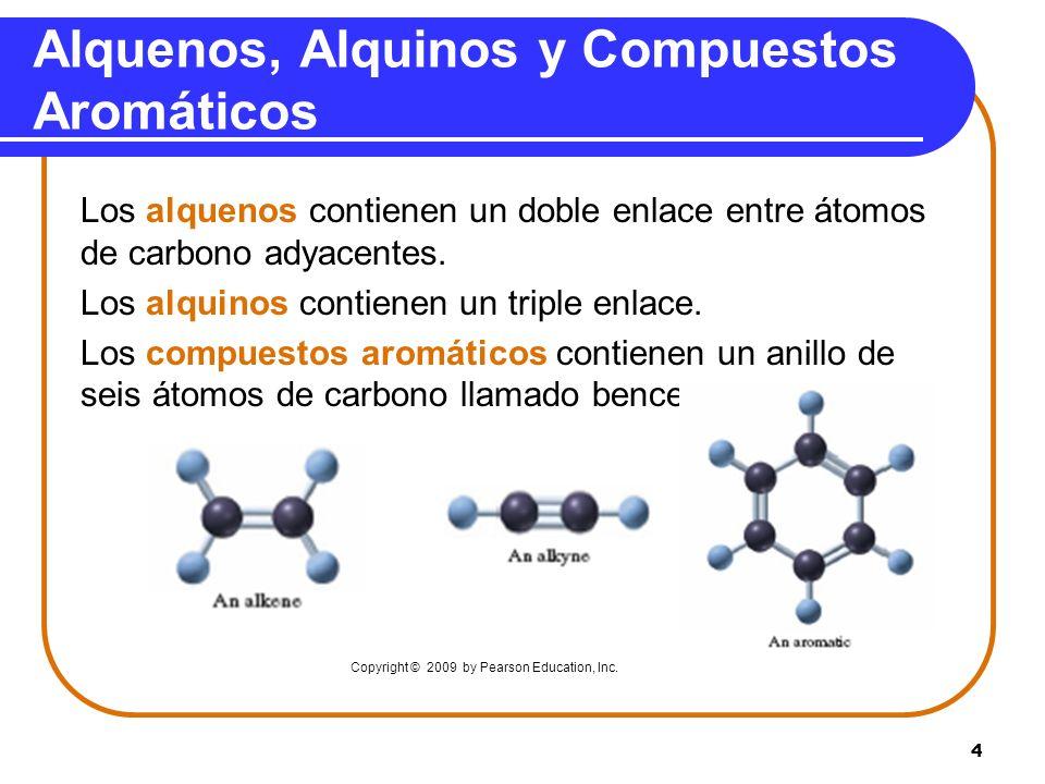 4 Alquenos, Alquinos y Compuestos Aromáticos Los alquenos contienen un doble enlace entre átomos de carbono adyacentes. Los alquinos contienen un trip