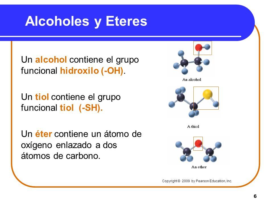 6 Alcoholes y Eteres Un alcohol contiene el grupo funcional hidroxilo (-OH). Un tiol contiene el grupo funcional tiol (-SH). Un éter contiene un átomo
