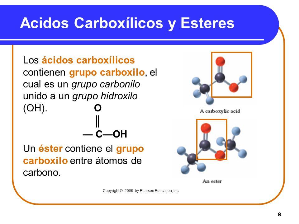 8 Acidos Carboxílicos y Esteres Los ácidos carboxílicos contienen grupo carboxilo, el cual es un grupo carbonilo unido a un grupo hidroxilo (OH). O CO