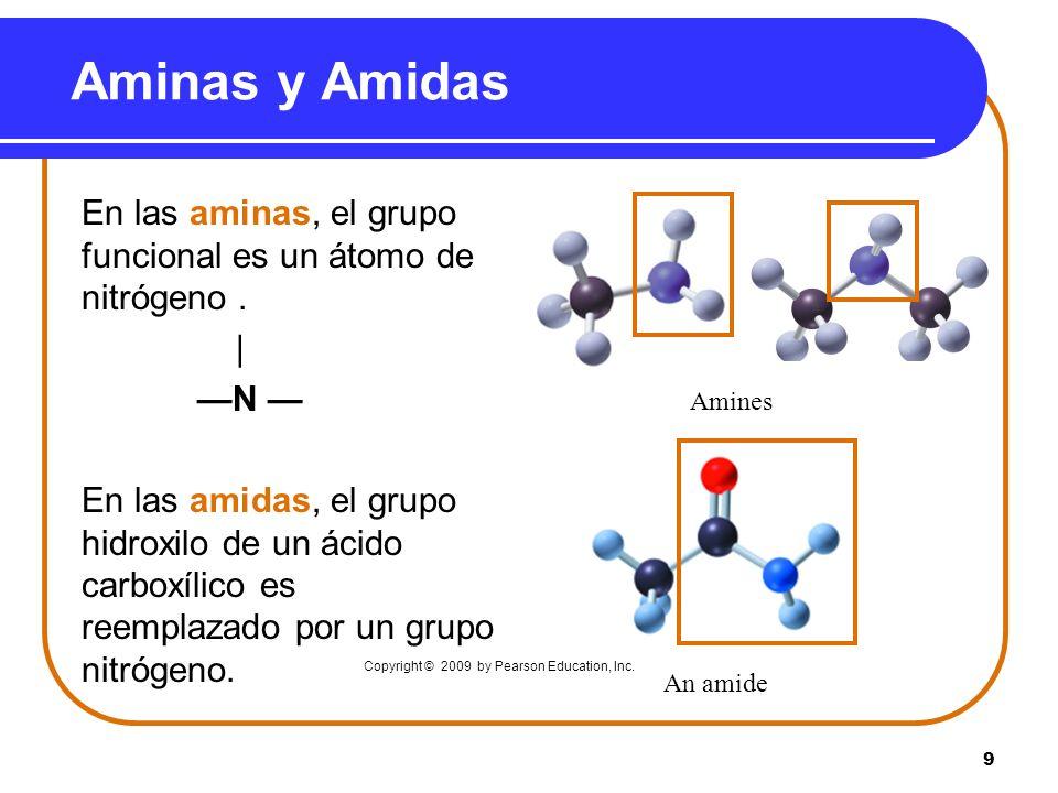 9 Aminas y Amidas En las aminas, el grupo funcional es un átomo de nitrógeno. | N En las amidas, el grupo hidroxilo de un ácido carboxílico es reempla