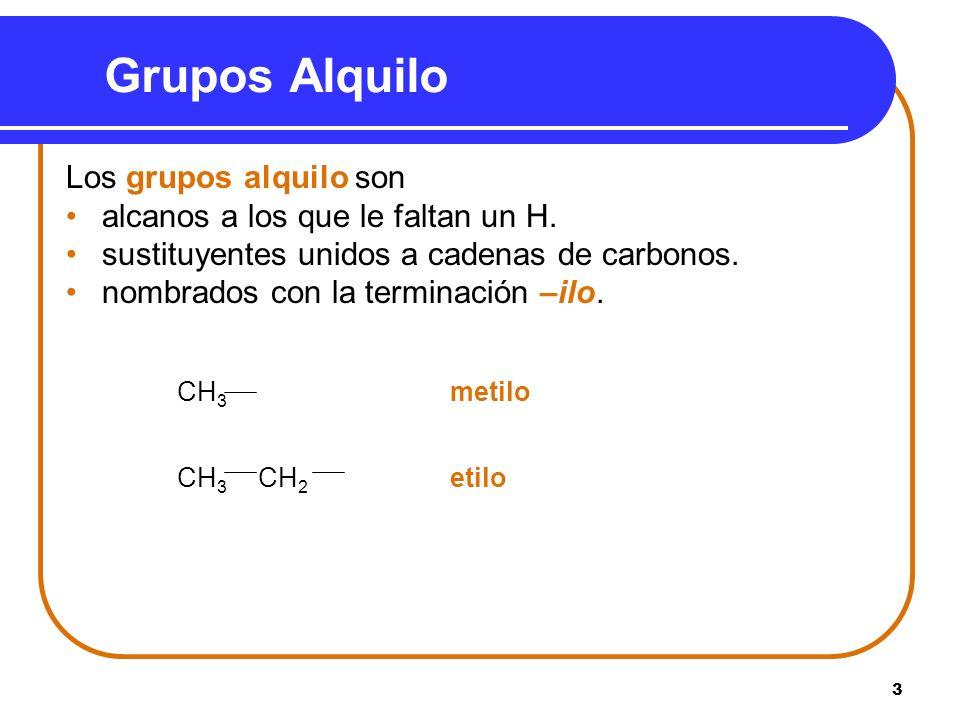 3 Grupos Alquilo Los grupos alquilo son alcanos a los que le faltan un H. sustituyentes unidos a cadenas de carbonos. nombrados con la terminación –il