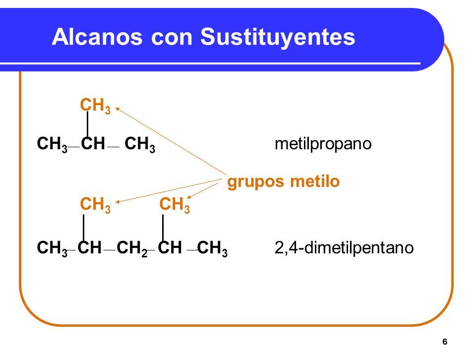 6 Alcanos con Sustituyentes CH 3 CH 3 CH CH 3 metilpropano grupos metilo CH 3 CH 3 CH 3 CH CH 2 CH CH 3 2,4-dimetilpentano