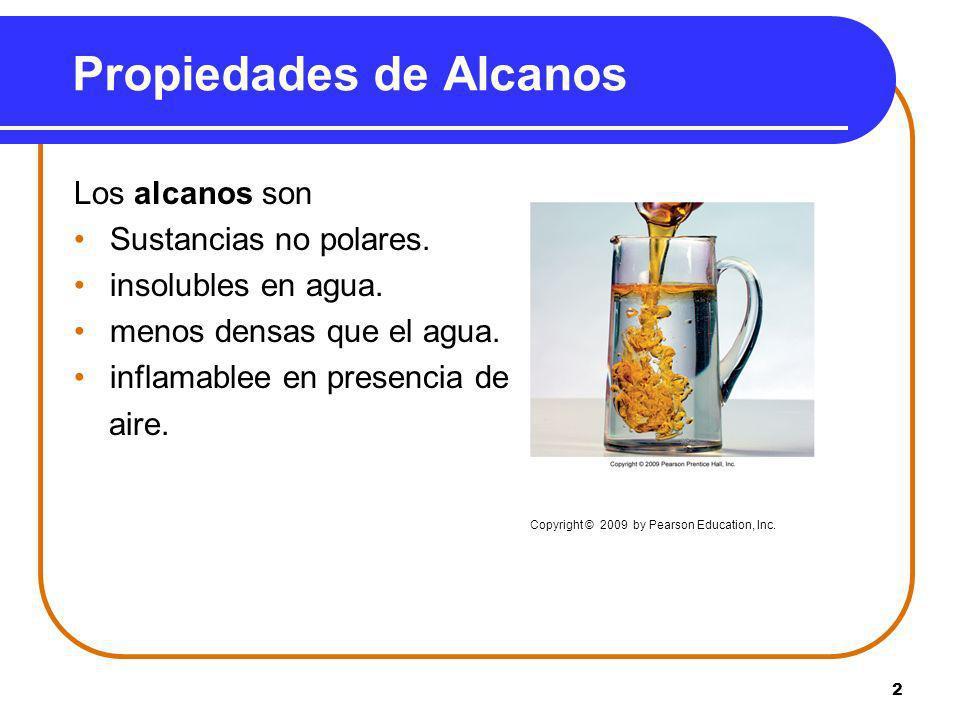 2 Los alcanos son Sustancias no polares. insolubles en agua. menos densas que el agua. inflamablee en presencia de aire. Copyright © 2009 by Pearson E