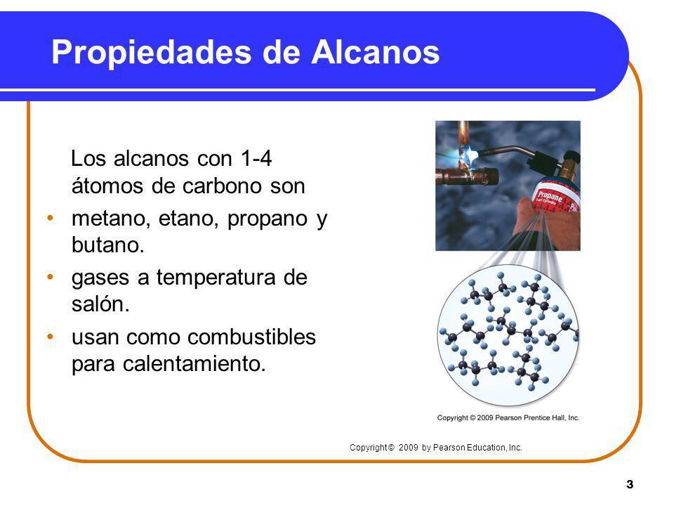 3 Propiedades de Alcanos Los alcanos con 1-4 átomos de carbono son metano, etano, propano y butano. gases a temperatura de salón. usan como combustibl