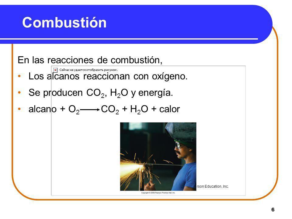 6 Combustión En las reacciones de combustión, Los alcanos reaccionan con oxígeno. Se producen CO 2, H 2 O y energía. alcano + O 2 CO 2 + H 2 O + calor