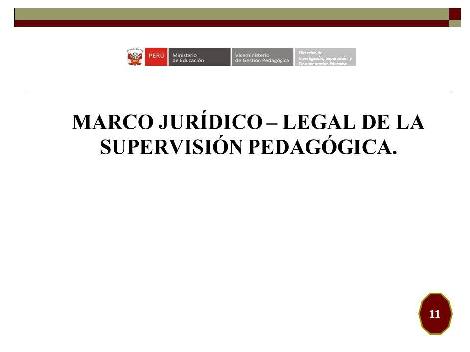 MARCO JURÍDICO – LEGAL DE LA SUPERVISIÓN PEDAGÓGICA. Dirección de Investigación, Supervisión y Documentación Educativa 11