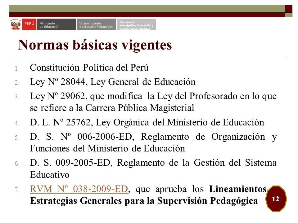 Normas básicas vigentes 1. Constitución Política del Perú 2. Ley Nº 28044, Ley General de Educación 3. Ley Nº 29062, que modifica la Ley del Profesora