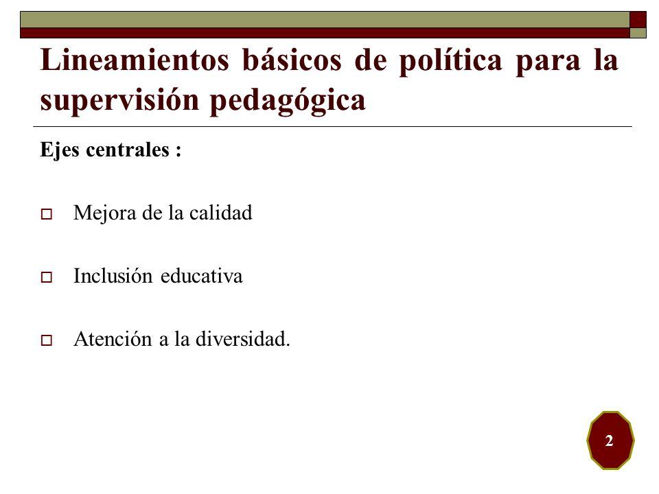 Ejes centrales : Mejora de la calidad Inclusión educativa Atención a la diversidad. Lineamientos básicos de política para la supervisión pedagógica 2