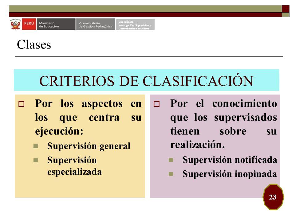 CRITERIOS DE CLASIFICACIÓN Por los aspectos en los que centra su ejecución: Supervisión general Supervisión especializada Por el conocimiento que los