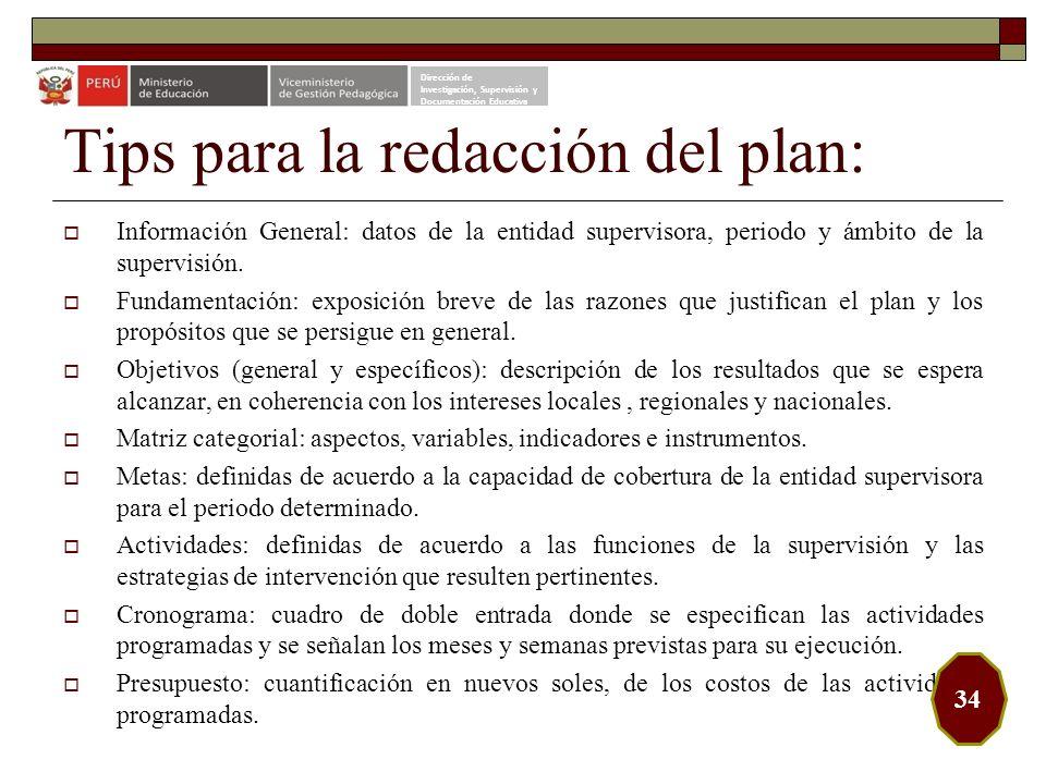 Tips para la redacción del plan: Información General: datos de la entidad supervisora, periodo y ámbito de la supervisión. Fundamentación: exposición