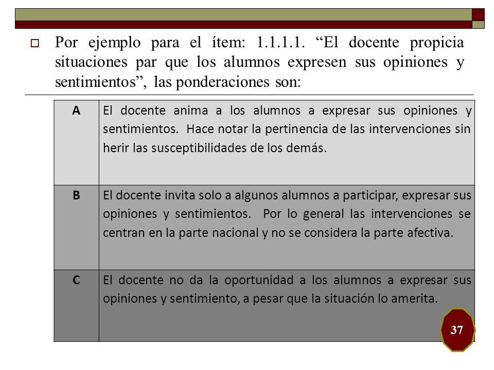 Por ejemplo para el ítem: 1.1.1.1. El docente propicia situaciones par que los alumnos expresen sus opiniones y sentimientos, las ponderaciones son: A