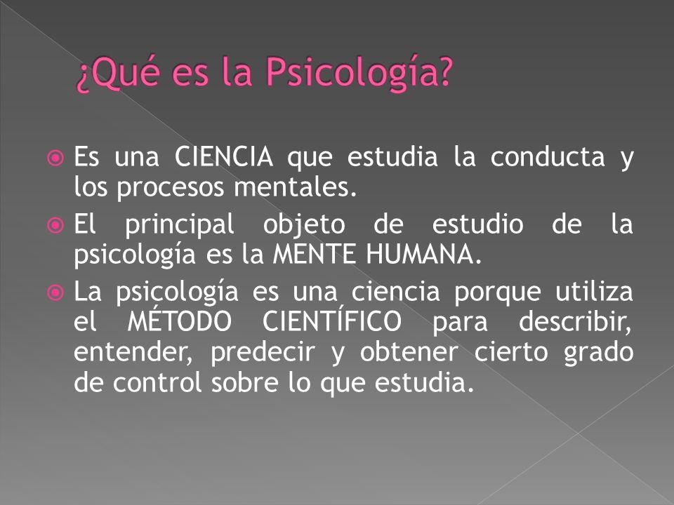 Es una CIENCIA que estudia la conducta y los procesos mentales.