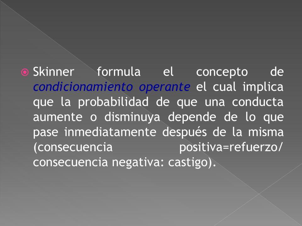 B.F. Skinner (1904-1990) La mente es una caja negra irrelevante para los científicos en psicología que deben estudiar lo que entra (E: estímulo) y lo