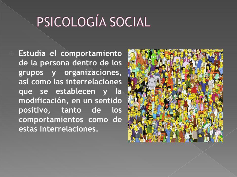 Estudia el comportamiento de la persona dentro de los grupos y organizaciones, así como las interrelaciones que se establecen y la modificación, en un sentido positivo, tanto de los comportamientos como de estas interrelaciones.