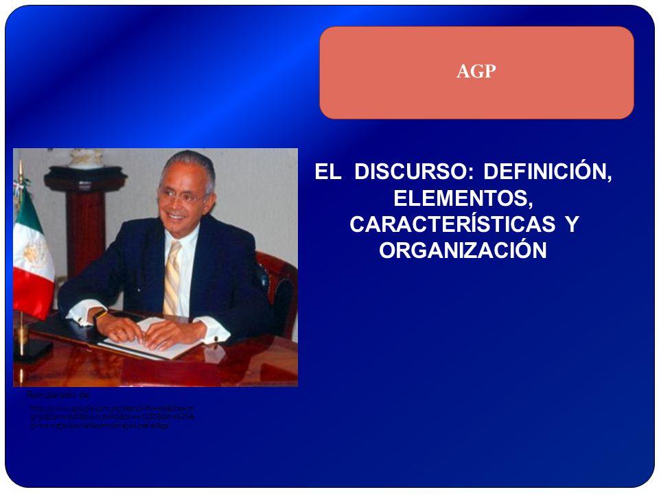 Recuperado de: EL DISCURSO: DEFINICIÓN, ELEMENTOS, CARACTERÍSTICAS Y ORGANIZACIÓN AGP http://www.google.com.pe/search?hl=es&site=im ghp&tbm=isch&sourc