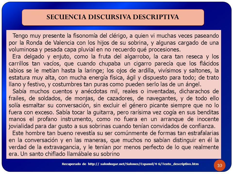 SECUENCIA DISCURSIVA DESCRIPTIVA 10 Tengo muy presente la fisonomía del clérigo, a quien vi muchas veces paseando por la Ronda de Valencia con los hij