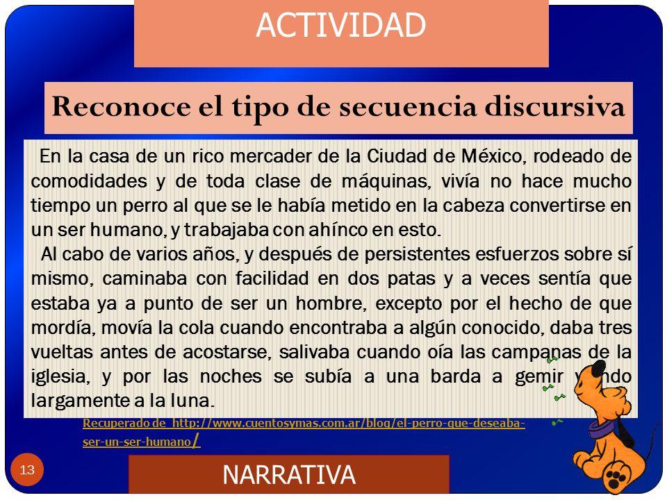 Reconoce el tipo de secuencia discursiva 13 En la casa de un rico mercader de la Ciudad de México, rodeado de comodidades y de toda clase de máquinas,