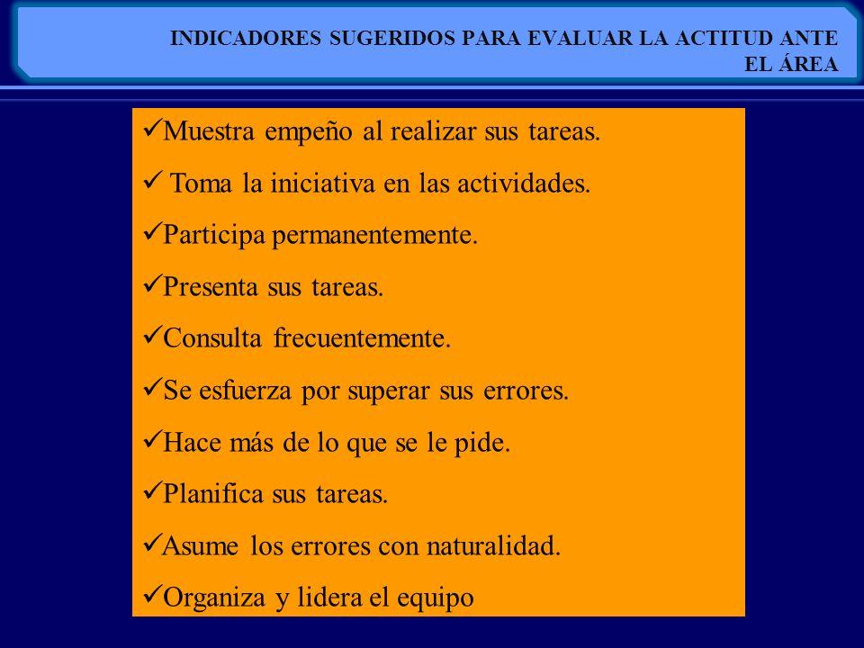 INDICADORES SUGERIDOS PARA EVALUAR LA ACTITUD ANTE EL ÁREA Muestra empeño al realizar sus tareas. Toma la iniciativa en las actividades. Participa per