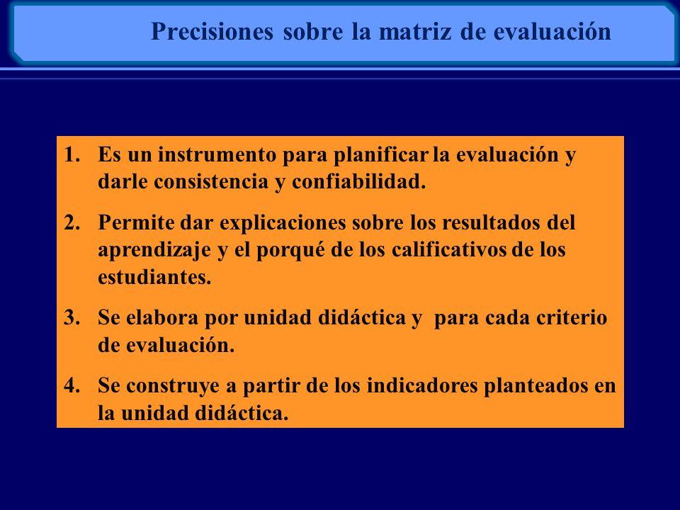 Precisiones sobre la matriz de evaluación 1.Es un instrumento para planificar la evaluación y darle consistencia y confiabilidad. 2.Permite dar explic