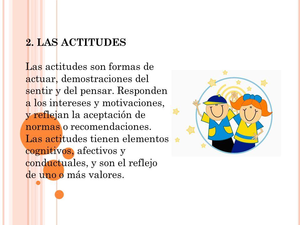 2. LAS ACTITUDES Las actitudes son formas de actuar, demostraciones del sentir y del pensar. Responden a los intereses y motivaciones, y reflejan la a