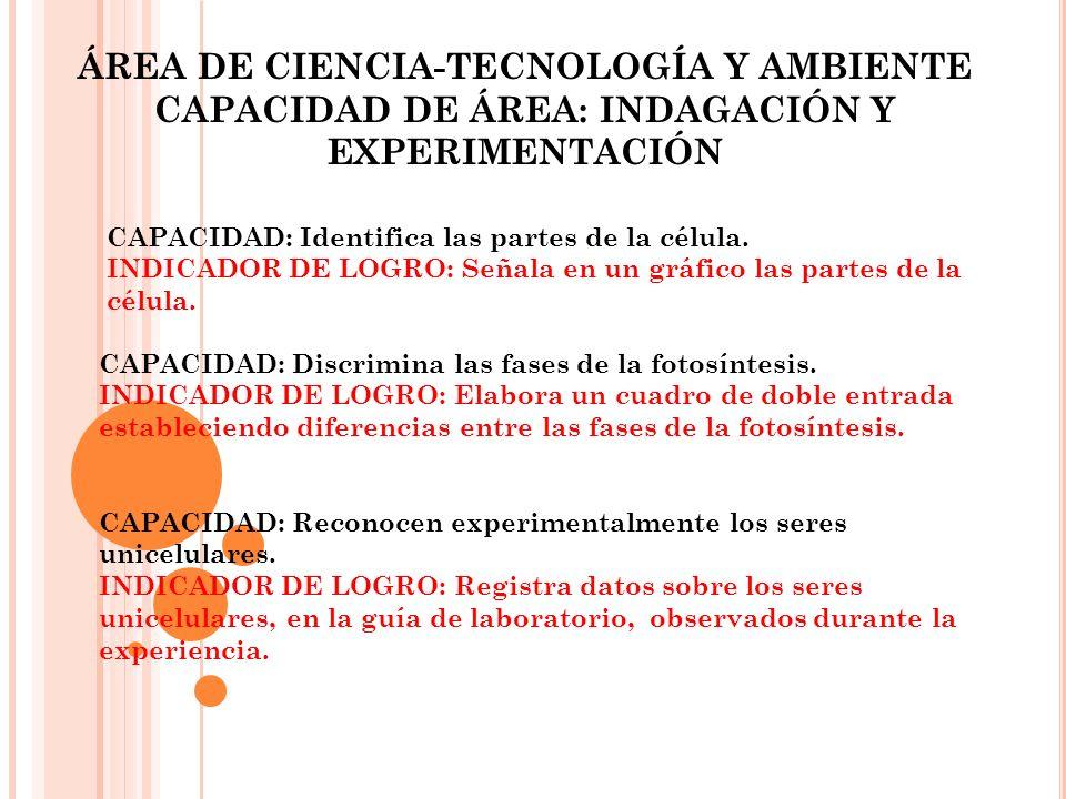 ÁREA DE CIENCIA-TECNOLOGÍA Y AMBIENTE CAPACIDAD DE ÁREA: INDAGACIÓN Y EXPERIMENTACIÓN CAPACIDAD: Identifica las partes de la célula. INDICADOR DE LOGR