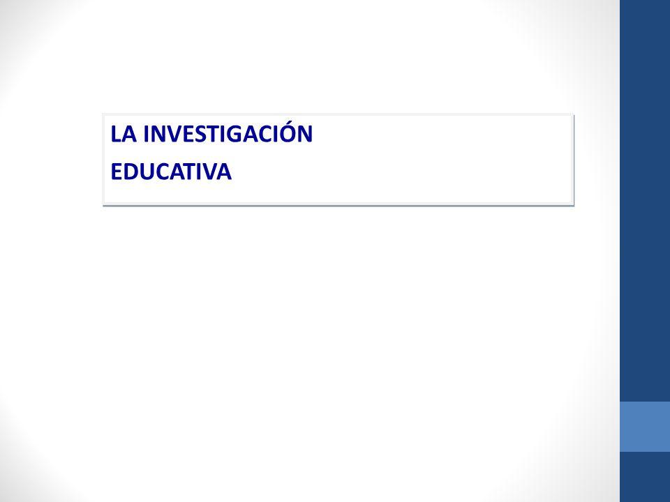 LA INVESTIGACIÓN EDUCATIVA LA INVESTIGACIÓN EDUCATIVA