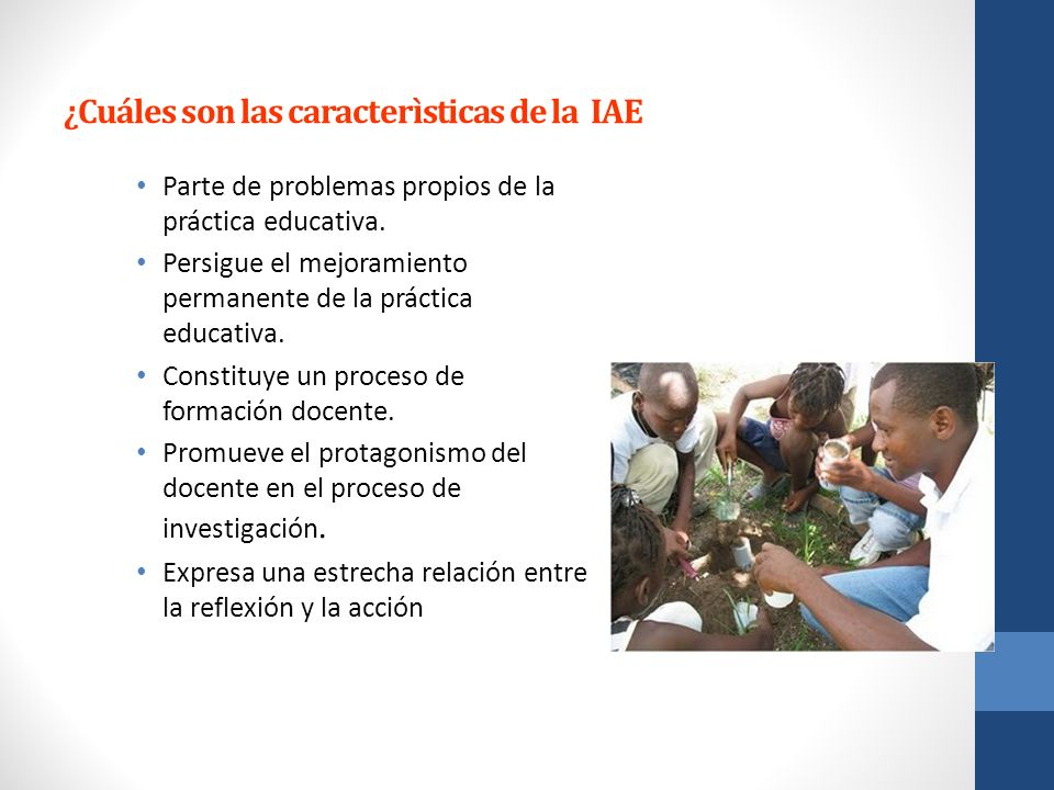 ¿Cuáles son las caracterìsticas de la IAE Parte de problemas propios de la práctica educativa. Persigue el mejoramiento permanente de la práctica educ