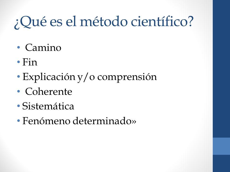¿Qué es el método científico? Camino Fin Explicación y/o comprensión Coherente Sistemática Fenómeno determinado»