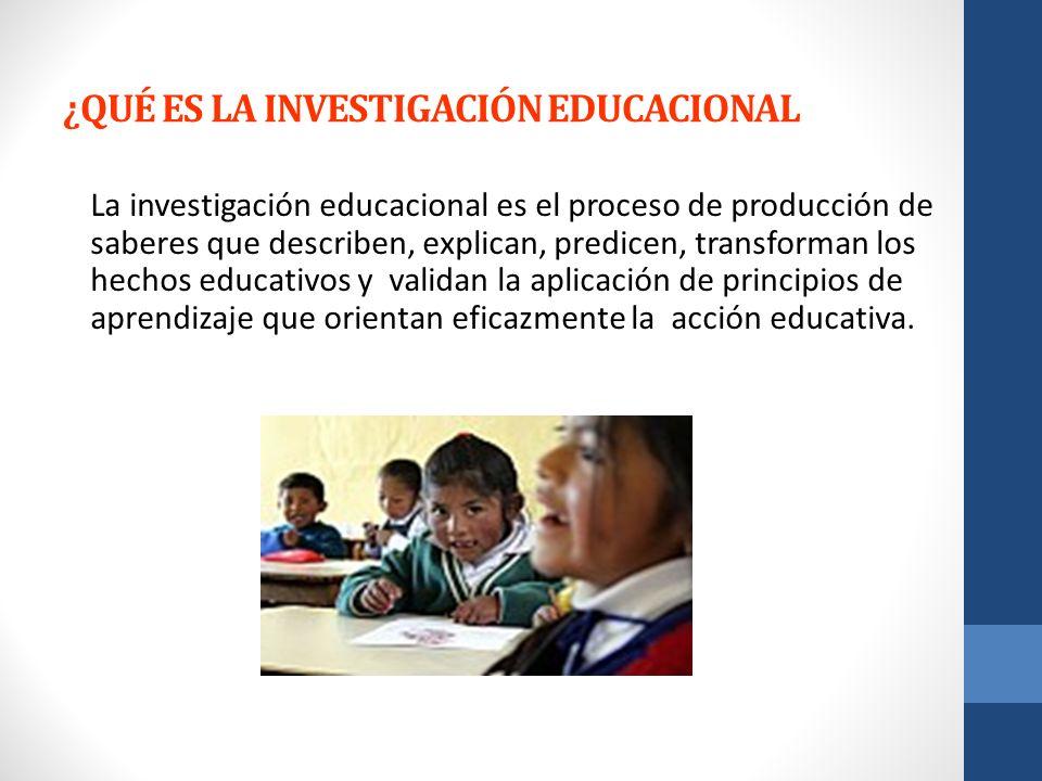 ¿QUÉ ES LA INVESTIGACIÓN EDUCACIONAL La investigación educacional es el proceso de producción de saberes que describen, explican, predicen, transforma