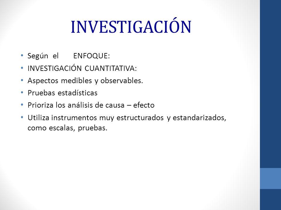 INVESTIGACIÓN Según el ENFOQUE: INVESTIGACIÓN CUANTITATIVA: Aspectos medibles y observables. Pruebas estadísticas Prioriza los análisis de causa – efe