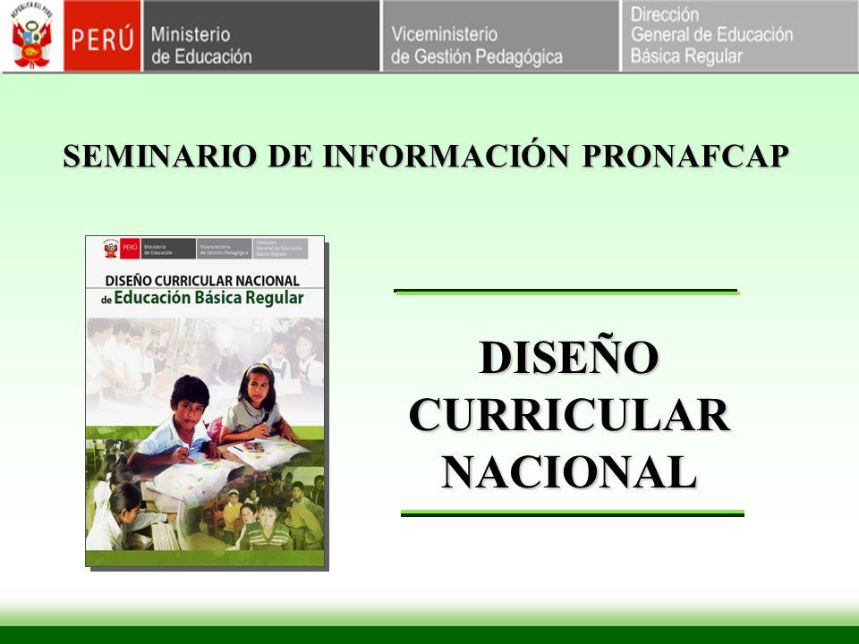 SEMINARIO DE INFORMACIÓN PRONAFCAP DISEÑO CURRICULAR NACIONAL