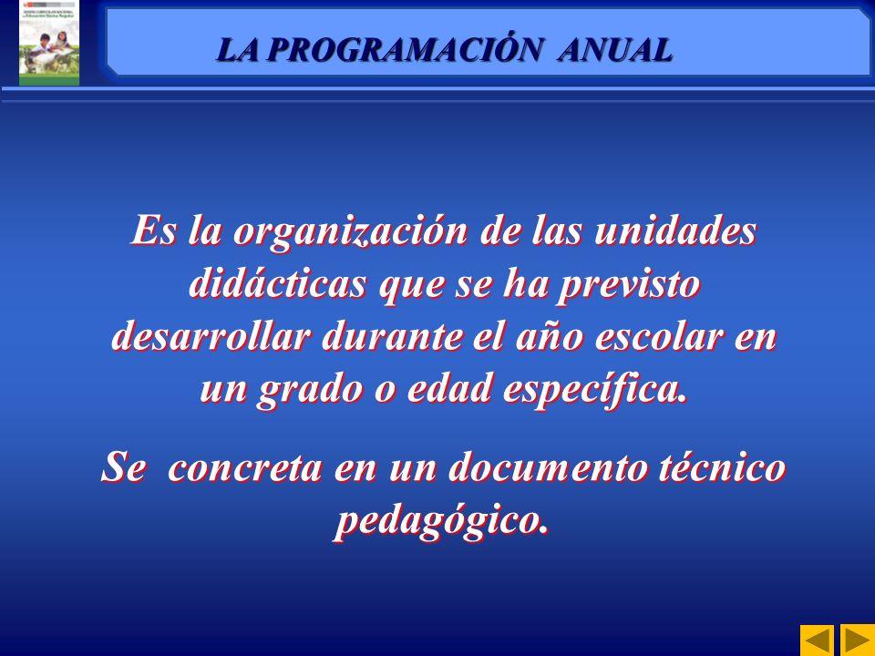 La Programación Curricular es un proceso de previsión, selección y organización de las capacidades, conocimientos y actitudes, acompañadas de indicado