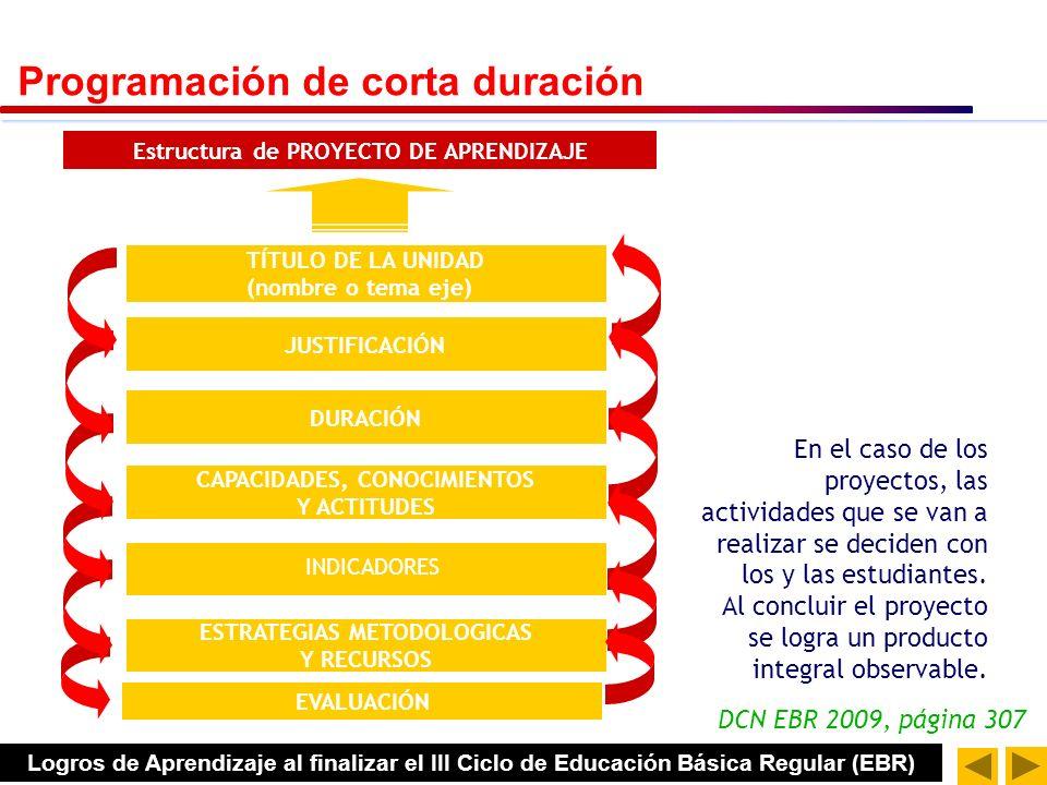 DCN EBR 2009, página 307 Estructura de MÓDULO DE APRENDIZAJE TÍTULO DE LA UNIDAD (nombre o tema eje) JUSTIFICACIÓN DURACIÓN ESTRATEGIAS METODOLOGICAS