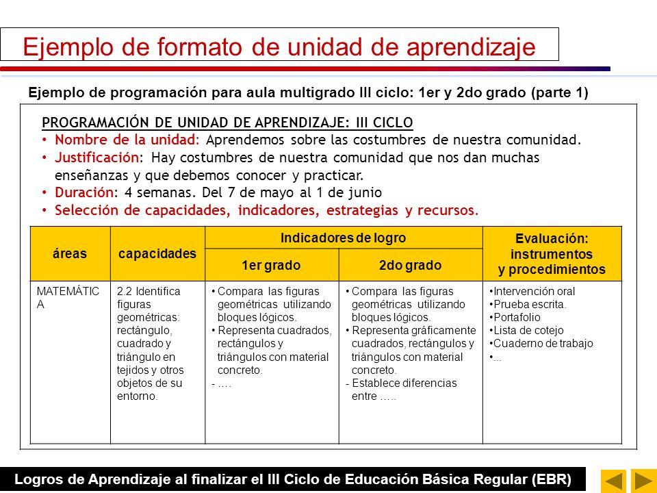Ejemplo de programación de unidad para aula monogrado: 1er grado (parte 1) áreascapacidadesindicadores Evaluación: instrumentos y procedimientos MATEM