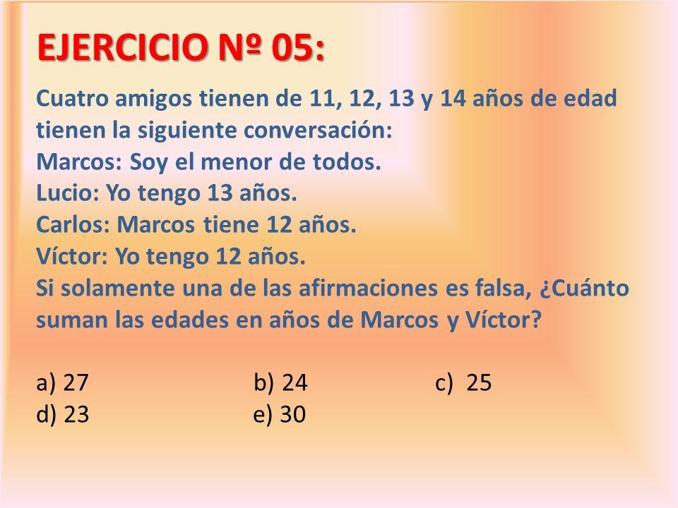 EJERCICIO Nº 05: Cuatro amigos tienen de 11, 12, 13 y 14 años de edad tienen la siguiente conversación: Marcos: Soy el menor de todos. Lucio: Yo tengo