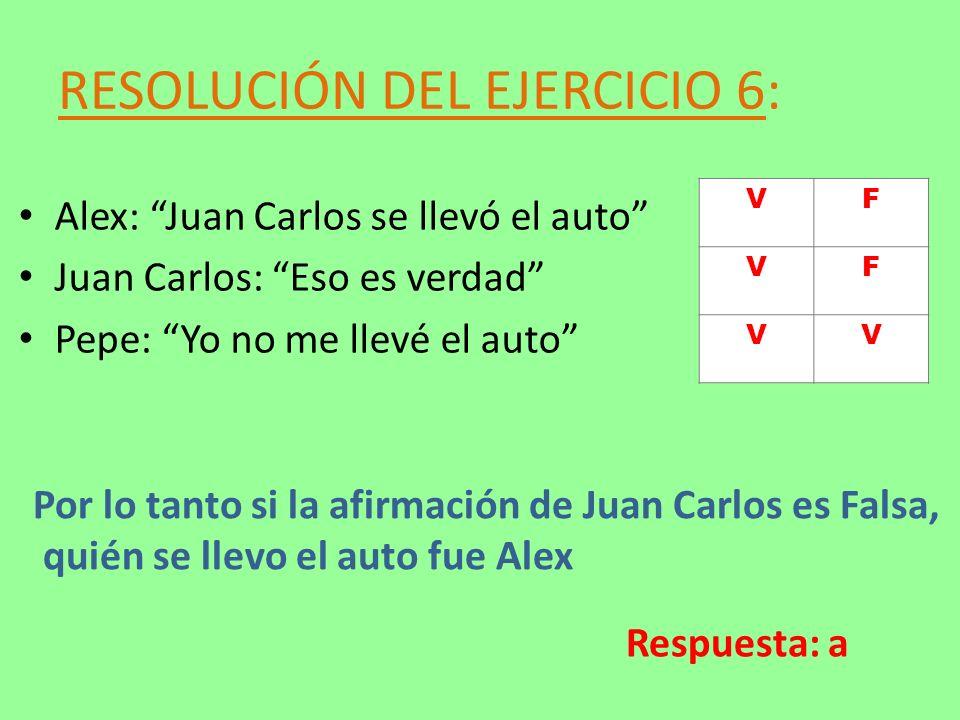 RESOLUCIÓN DEL EJERCICIO 6: Alex: Juan Carlos se llevó el auto Juan Carlos: Eso es verdad Pepe: Yo no me llevé el auto Por lo tanto si la afirmación d