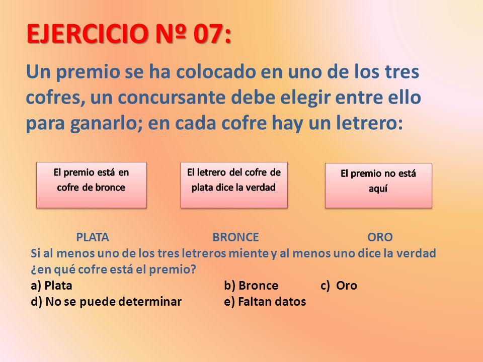 EJERCICIO Nº 07: Un premio se ha colocado en uno de los tres cofres, un concursante debe elegir entre ello para ganarlo; en cada cofre hay un letrero: