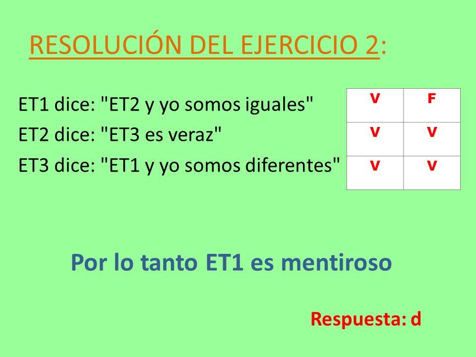 RESOLUCIÓN DEL EJERCICIO 2: ET1 dice: