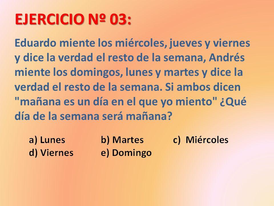 EJERCICIO Nº 03: Eduardo miente los miércoles, jueves y viernes y dice la verdad el resto de la semana, Andrés miente los domingos, lunes y martes y d