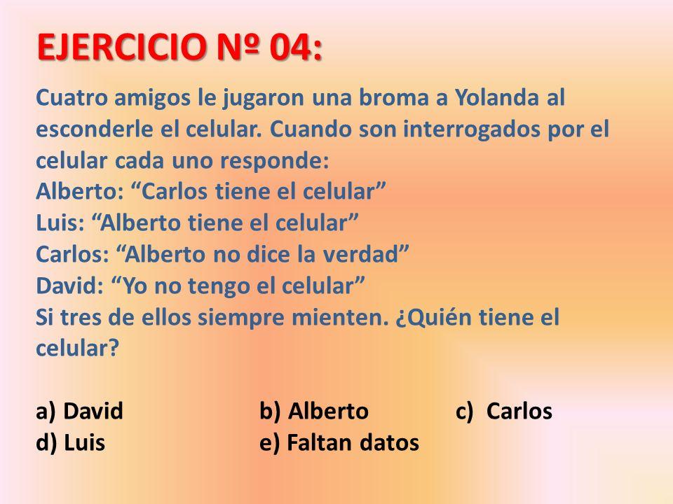 RESOLUCIÓN DEL EJERCICIO 4: Alberto: Carlos tiene el celular Luis: Alberto tiene el celular (F) Carlos: Alberto no dice la verdad David: Yo no tengo el celular (F) V F Por lo tanto si la afirmación de David es falsa, David es el culpable Respuesta: a