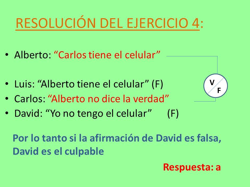 RESOLUCIÓN DEL EJERCICIO 4: Alberto: Carlos tiene el celular Luis: Alberto tiene el celular (F) Carlos: Alberto no dice la verdad David: Yo no tengo e